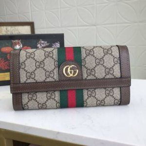 New GG GUCCI Beige Red Green Wallet